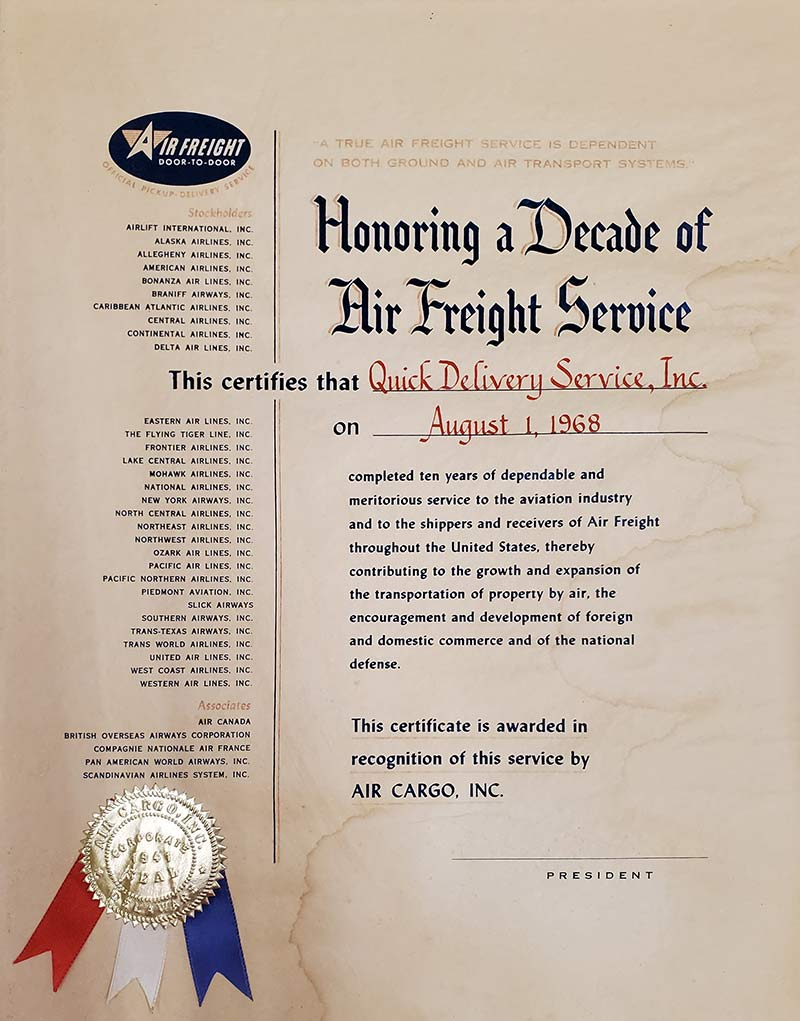 Honoring a Decade of Air Freight Service